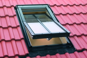 FAKRO conservation roof window on interlocking tiles
